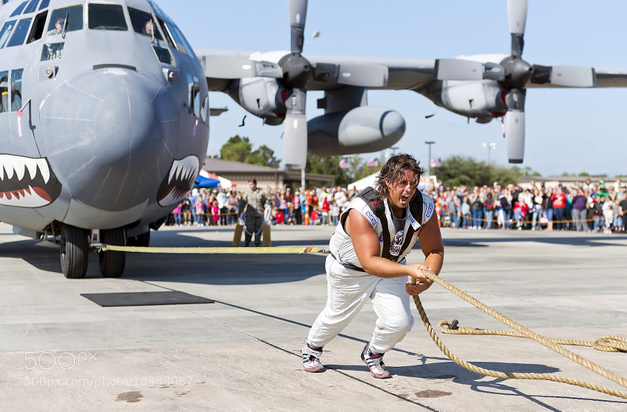 Strongman Mark Krisch pulls a 90,000+ lb. Hercules C-130 aircraft in a salute to the men and woman of the U.S. Military. This happened at the Moody AFB 'Legacy of Liberty' Air Show