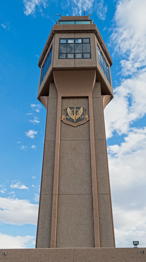 The air traffic control tower at Nellis AFB