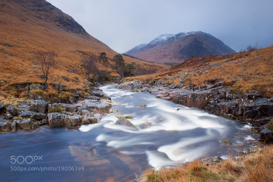 The River Etive near Glencoe, Scotland, Just minuts later I lost my 24-70mm when I slipped on a wet rock. Beside the loss of the lens also two Lee filters were smashed to pieces. I know where my next Christmas gratification will go to...