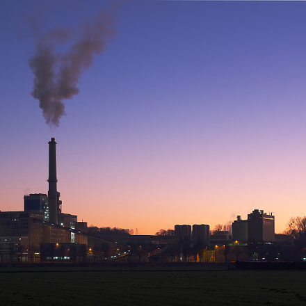 Power plant. Purple sky, Pentax K-30, smc PENTAX-FA 28-105mm F3.2-4.5 AL[IF]