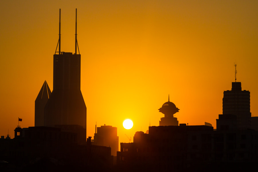 Sunset on Shanghai Skyline