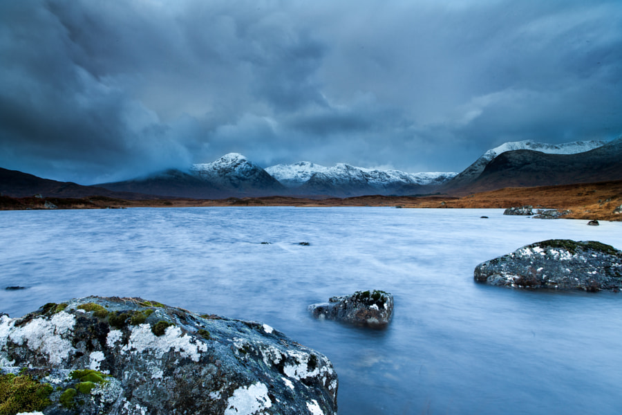 Rannoch Moor, Scotland under threatning skyes. Strong winds and hail storms at Lochan na h-Achlaise.