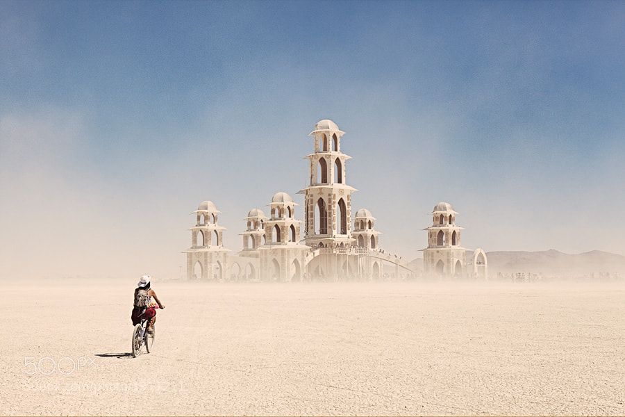 This temple stands just for one week during the Burning Man festival, and is burned down at the last day of the event.