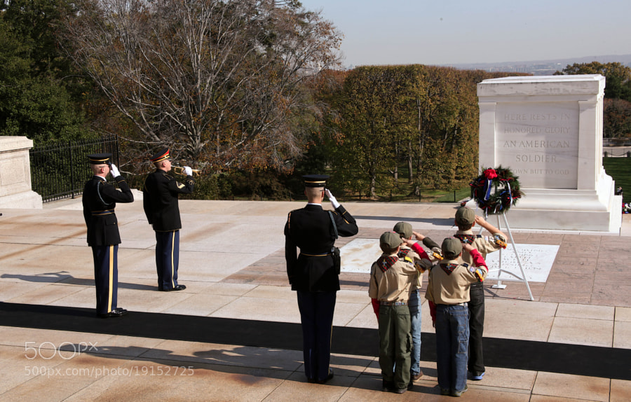Webelo Scouts laying a Wreath at The Tomb Of The Unknown Soldier, Veterans Day 2012.