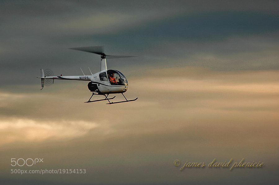 R-22 helicopter approaching Palomar Airport for landing.  © James David Phenicie.  All Rights Reserved.