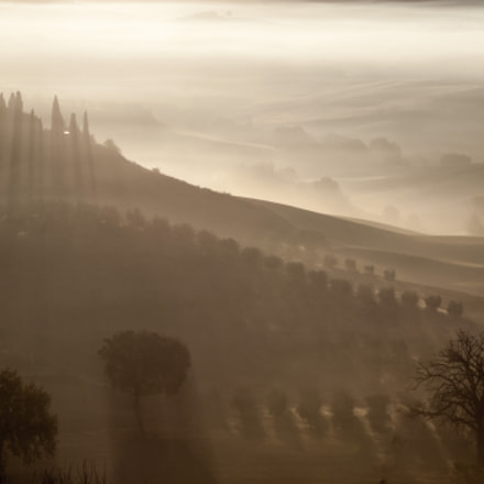 Foggy sunrise in Tuscany, Canon EOS 5D, Canon EF 100-300mm f/5.6L
