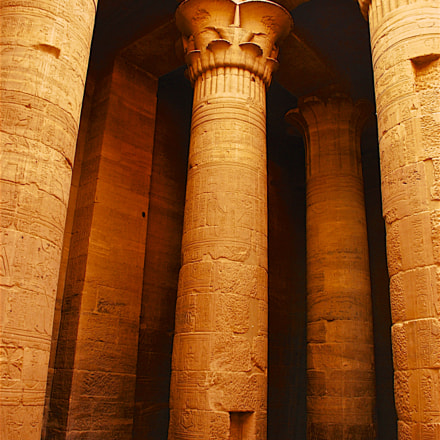Philae temple stone pillars