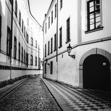 Street in Prague, Czech, Canon AE-1