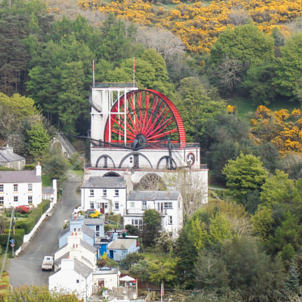 Laxey wheel from mountain, Nikon COOLPIX L810