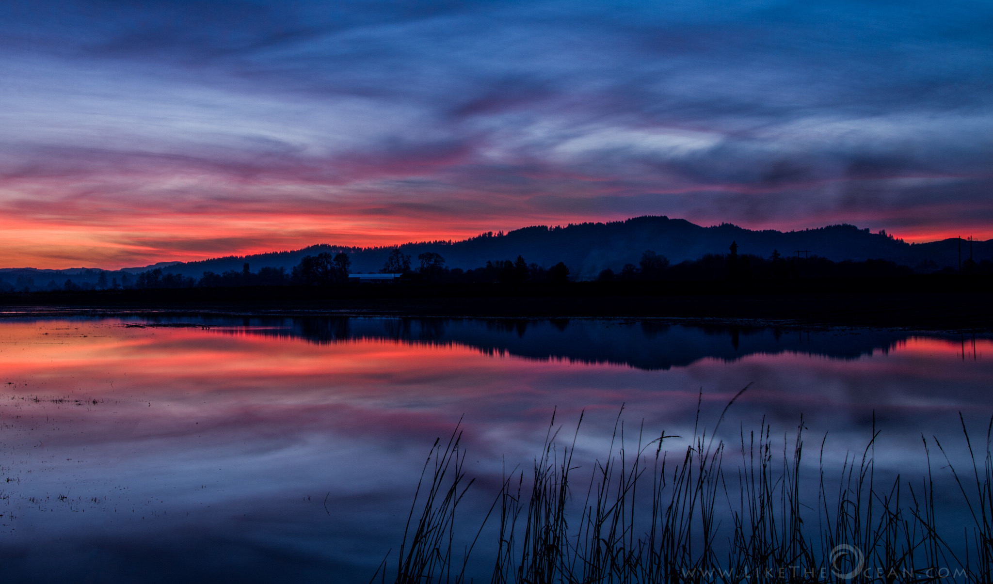 Photograph Winter Sunset Reflections by Sathya R on 500px