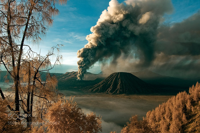 infra red image of Mount Bromo, east java.