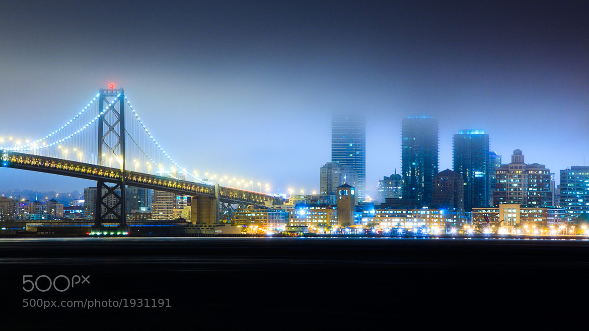 Photograph Bay Bridge In The Blue Hour by Giuseppe Parisi on 500px