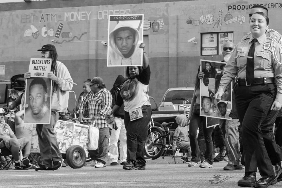 black lives matter lapd cadets black and white o by Kevin MG on 500px.com