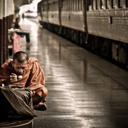 Monk Routine in TrainStation Thailand