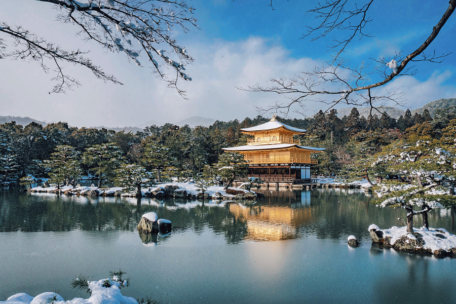 Kinkaku-ji Koyo Japan Snow by Yuu Photo