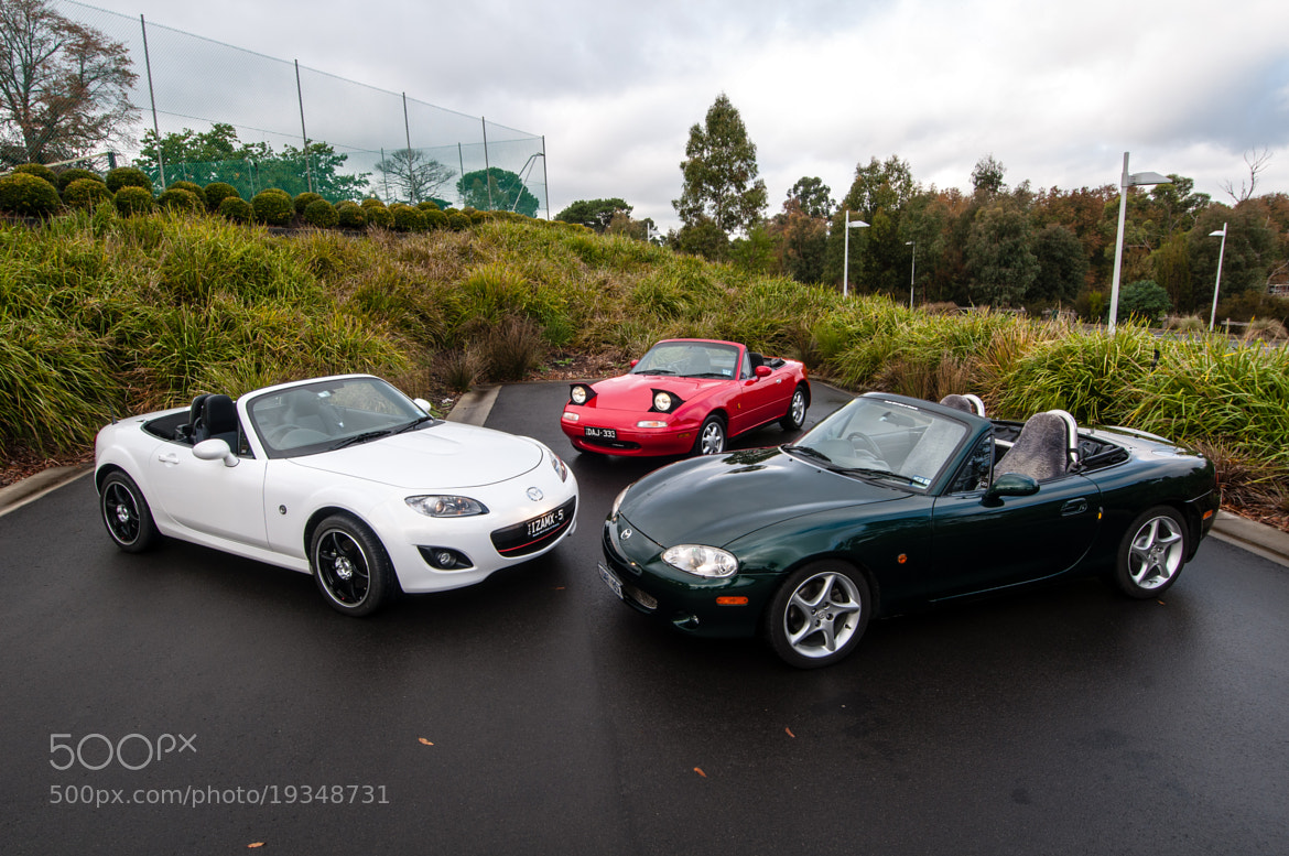 Photograph Trio of Mazda MX5 Convertables by Joel Strickland on 500px