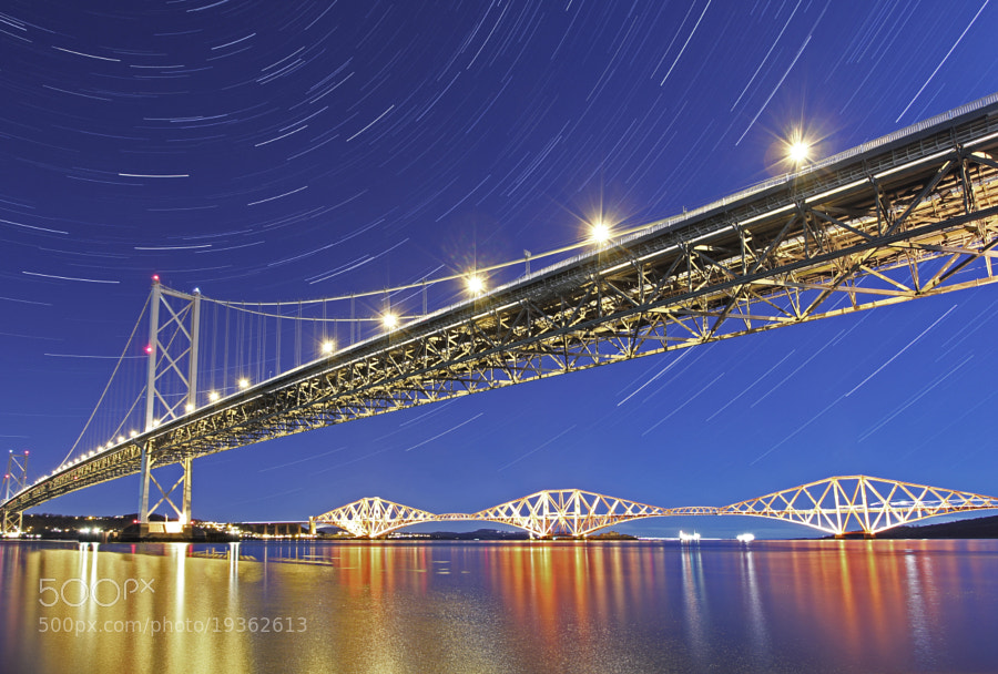 Photograph Forth Bridges Under the Stars by Mike Smith on 500px