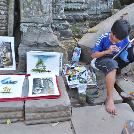 Painting  in Angkor Wat, Sony DSC-HX30V