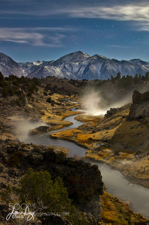 Photograph Hot Creek by Moonlight by Jean Day Photography on 500px