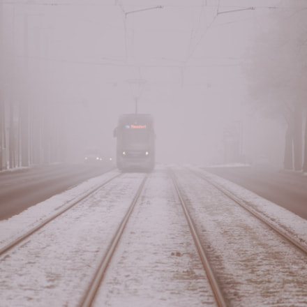 Foggy tram, Canon EOS 6D, Canon EF 80-200mm f/4.5-5.6