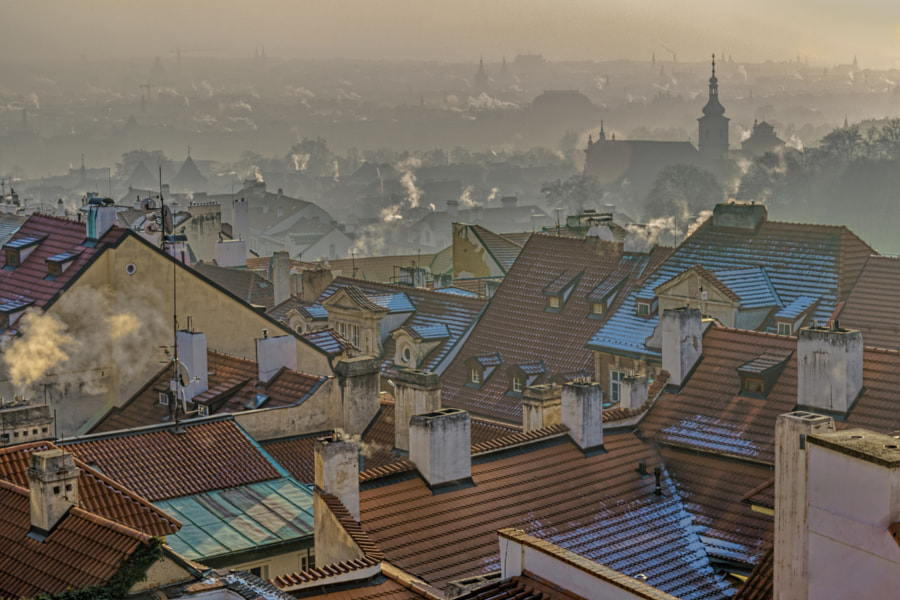Red Roofs and Smoking Chimneys of the Old Prague