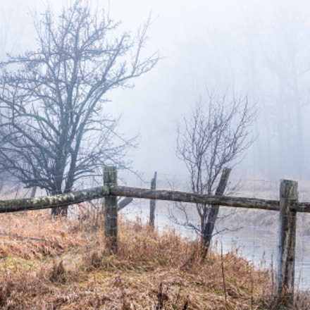 Fence in the Fog, Sony NEX-5T, Sony DT 18-135mm F3.5-5.6 SAM (SAL18135)