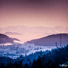 View from a Black Forest village to the Alpes in Switzerland