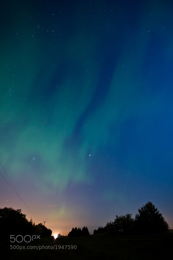 Cassiopeia, Pleiades, Jupiter, and the fading Aurora. By the time I had gotten away from the city lights the Aurora was fading away. Nevertheless...I ended up with a beautiful image of the night sky with some familiar faces!