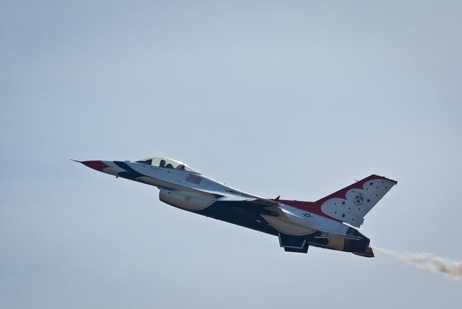 One of the solo flights from the USAF Thunderbirds at the Pease ARB in Portsmouth, NH on August 13, 2011
