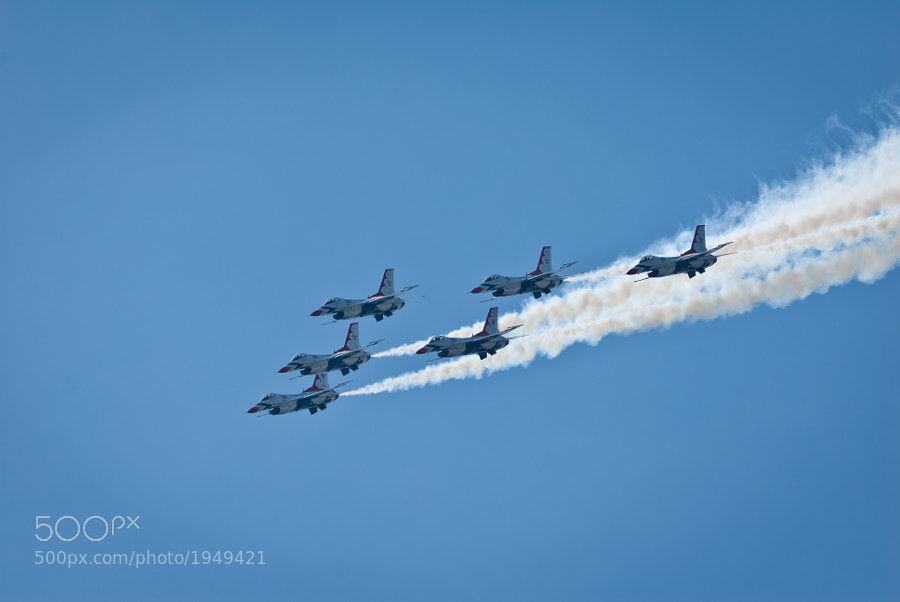 All six jets from the USAF Thunderbirds fly in formation at the Pease ARB in Portsmouth, NH on August 13, 2011