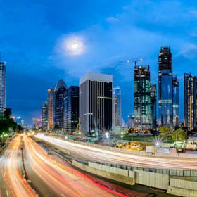 Panorama of iconic skyline in Jakarta, Indonesia