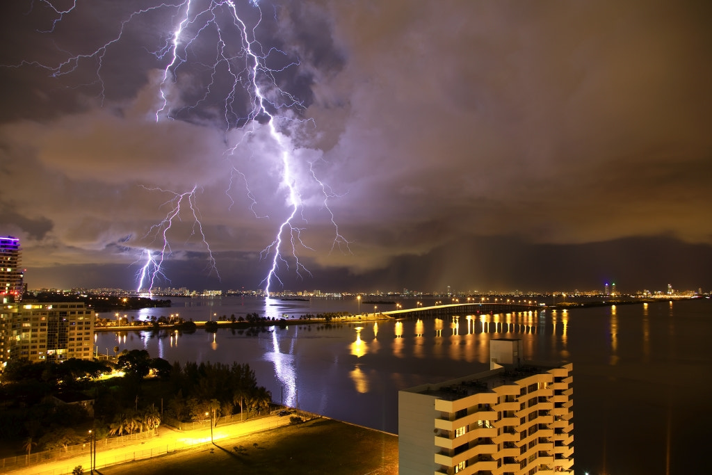 Photograph Lightning over the Julia Tuttle Causeway by Dorian H on 500px
