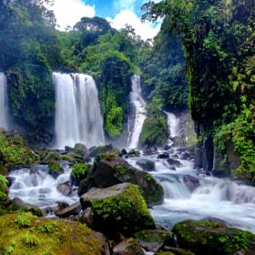 Beautiful waterfall in daylight