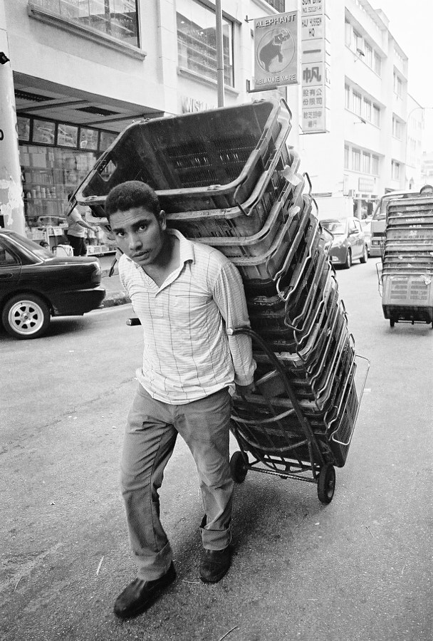 Foreign worker working hard for better live in Chow Kit, Kuala Lumpur, Malaysia.