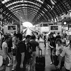 milano central train station; travellers at rush hour
