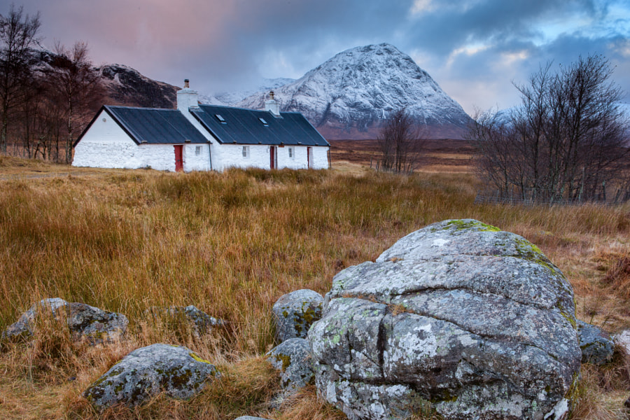 The color version of a previous post of the Blackrock Cottage near Glencoe, Scotland