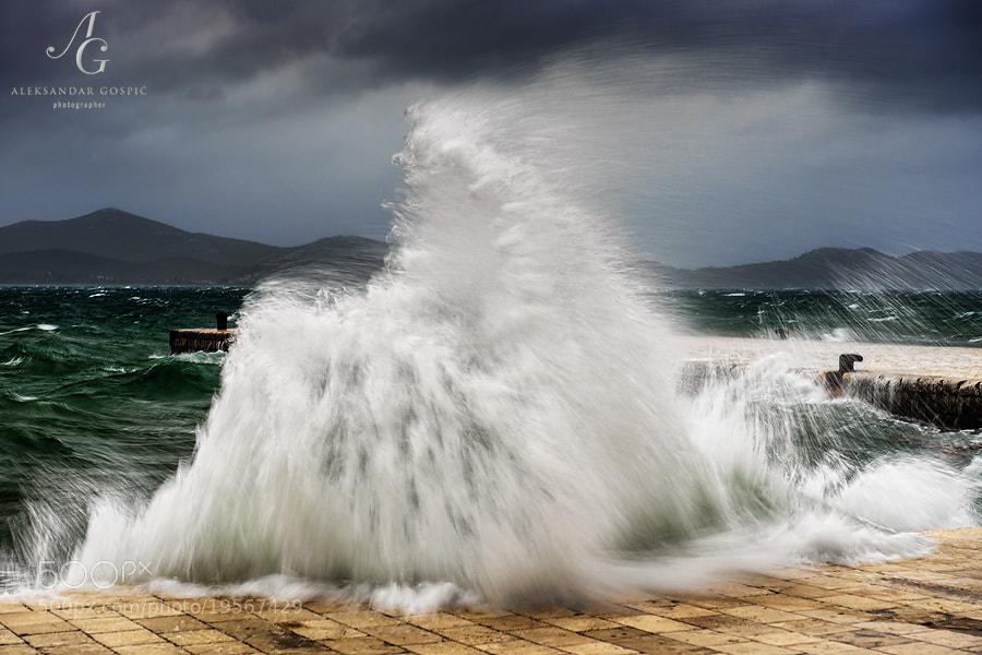 Jugo (south wind) took the sea for a stroll on Zadar's legendary waterfront promenade