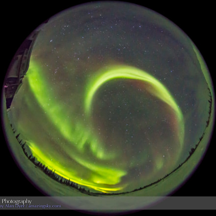 All-Sky Aurora from Churchill, Canon EOS 6D, Sigma 8mm f/3.5 EX DG Circular Fisheye