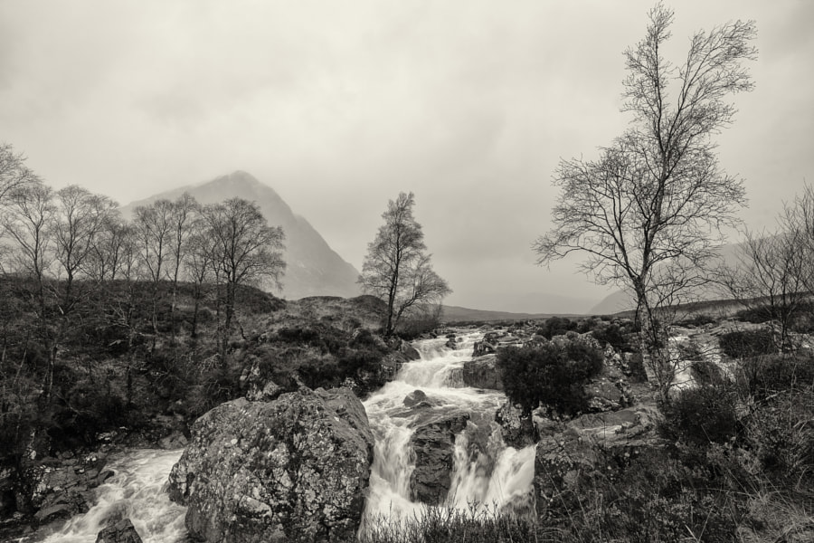 River Coupall near Glencoe, Scotland on a drizzling autumn morning.