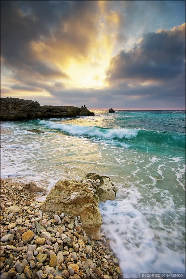 Photograph Sea and rock at the sunset.  by Igor  Goncharenko on 500px