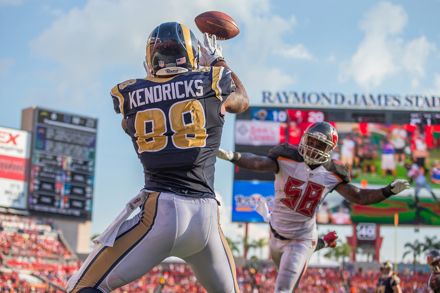 Tight end (88) Lance Kendricks of the Los Angeles Rams against the Tampa Bay Buccaneers during... by Jeff Lewis on 500px.com