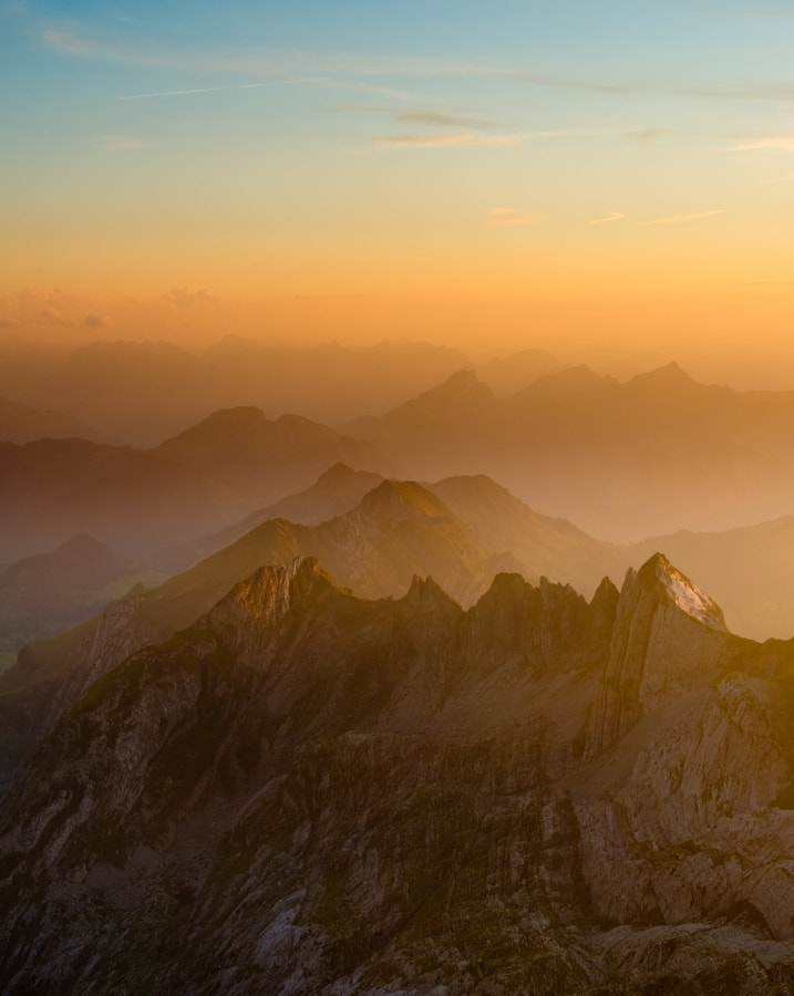 This image was shot from the Säntis in Switzerland, you see Silberplatten in the foreground.