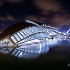 Ciudad de las Artes y las ciencias de Valencia de noche (City of Arts and Sciences in Valencia by ni by Juan Carlos Simón (JC-Simon)) on 500px.com