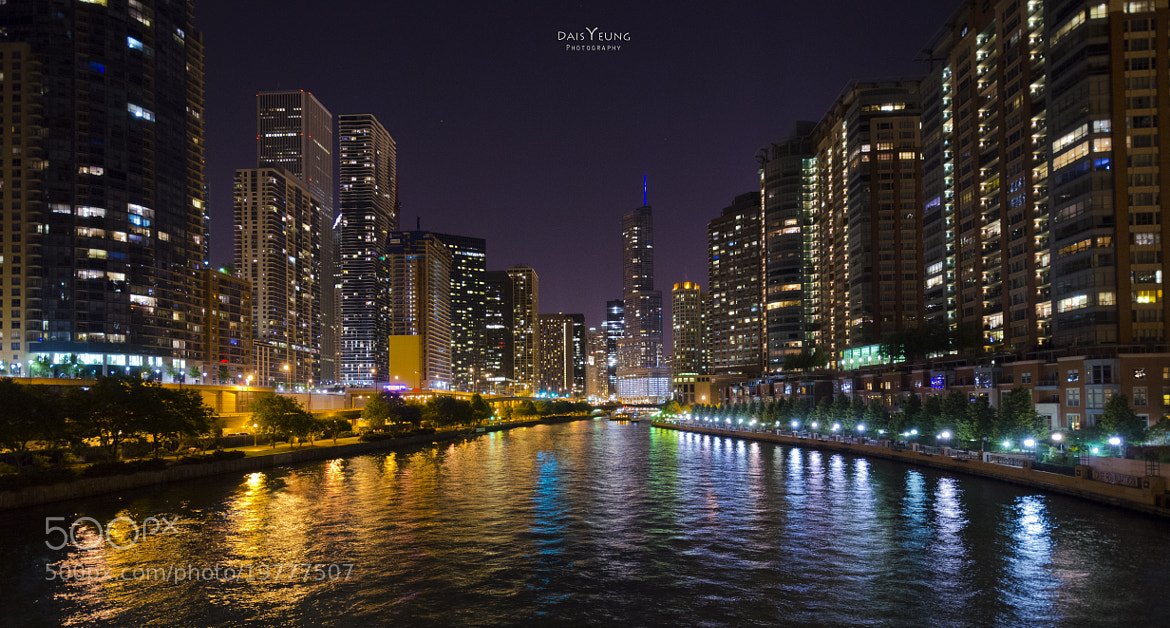 Photograph Chicago River Front at Night by Daisy Yeung on 500px