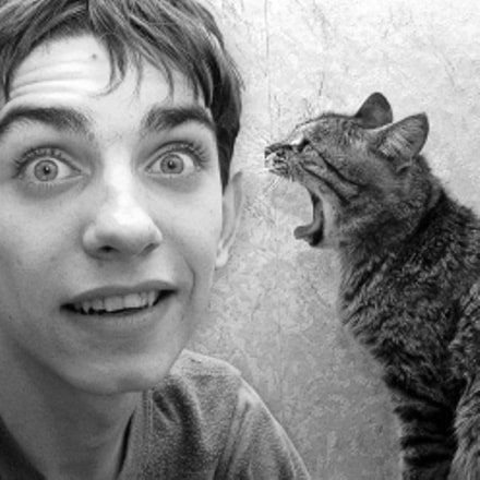 Surprised Boy and Cat, Canon POWERSHOT G5