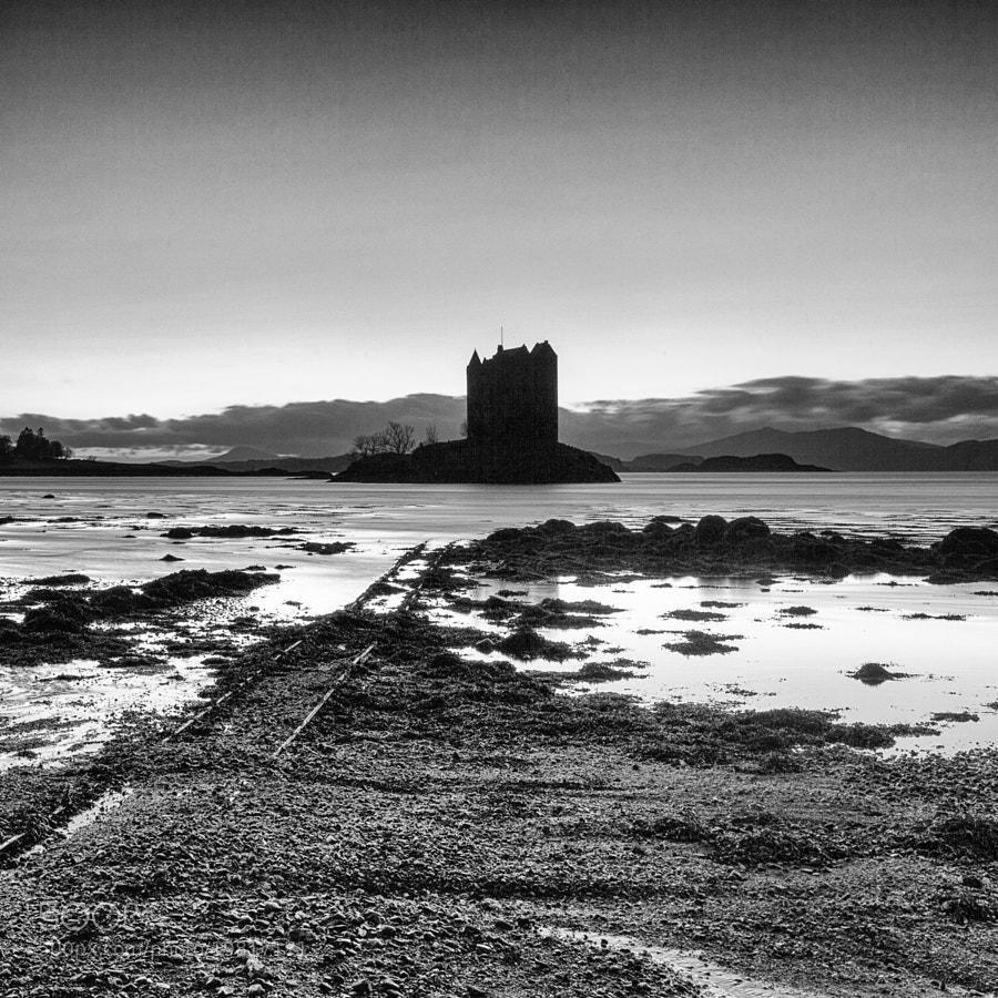 Castle Stalker after sunset.