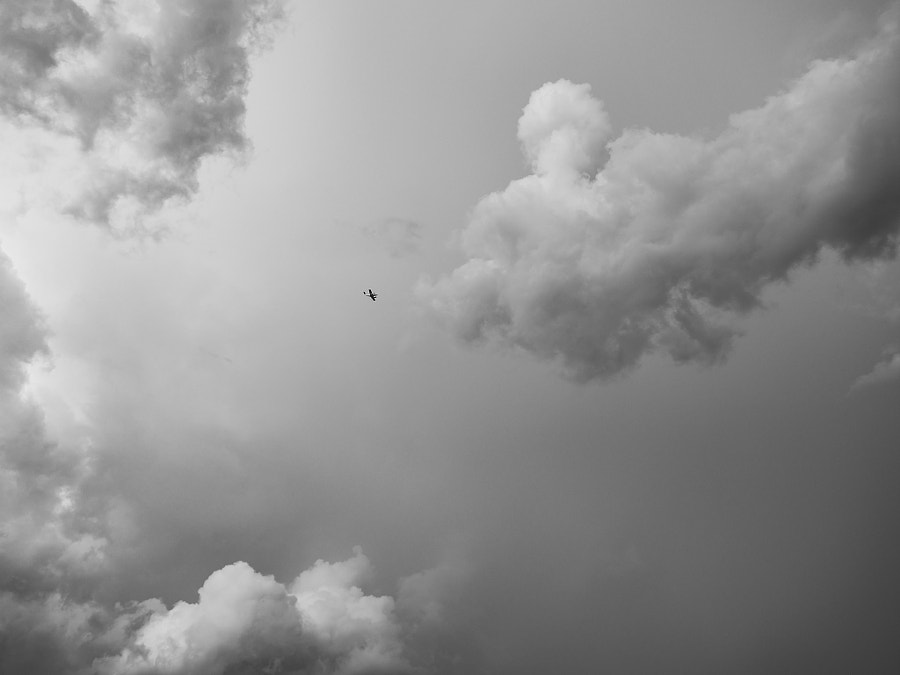 Flying through seas of clouds.