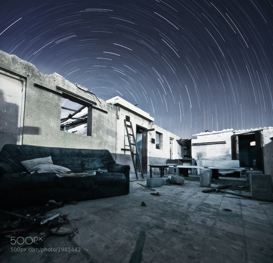 Star trails from an abandoned house in Dubai.
