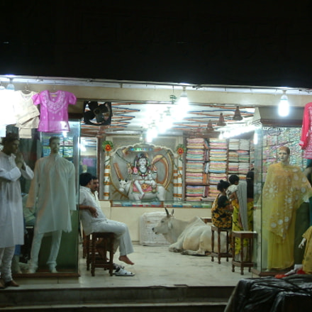 India shop with cow, Fujifilm FinePix S602 ZOOM