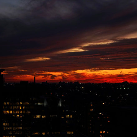 Crazy sunset in Toronto, Sony ILCE-7, Sony FE 70-200mm F4 G OSS